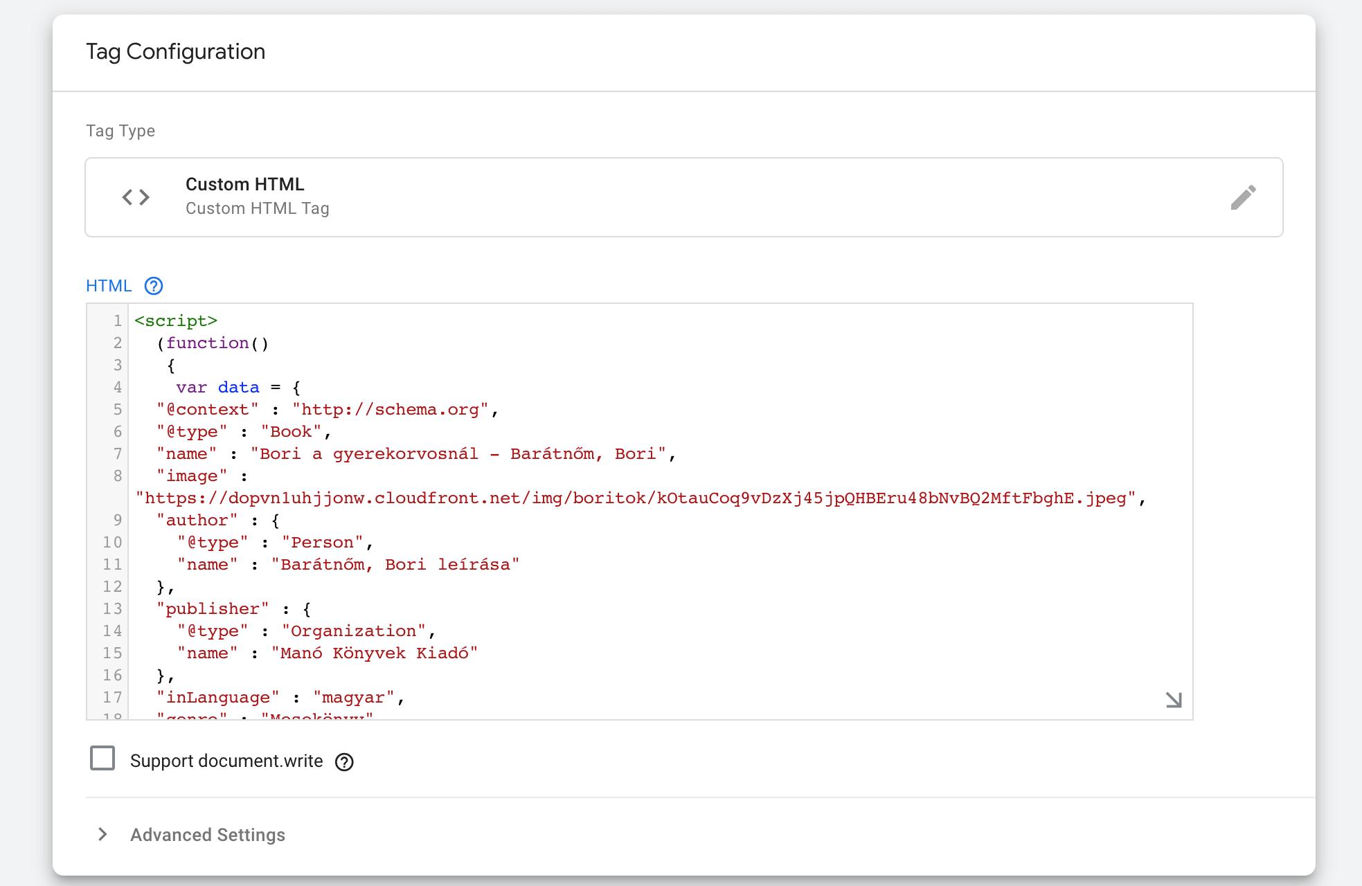 Kódrészlet beillesztése