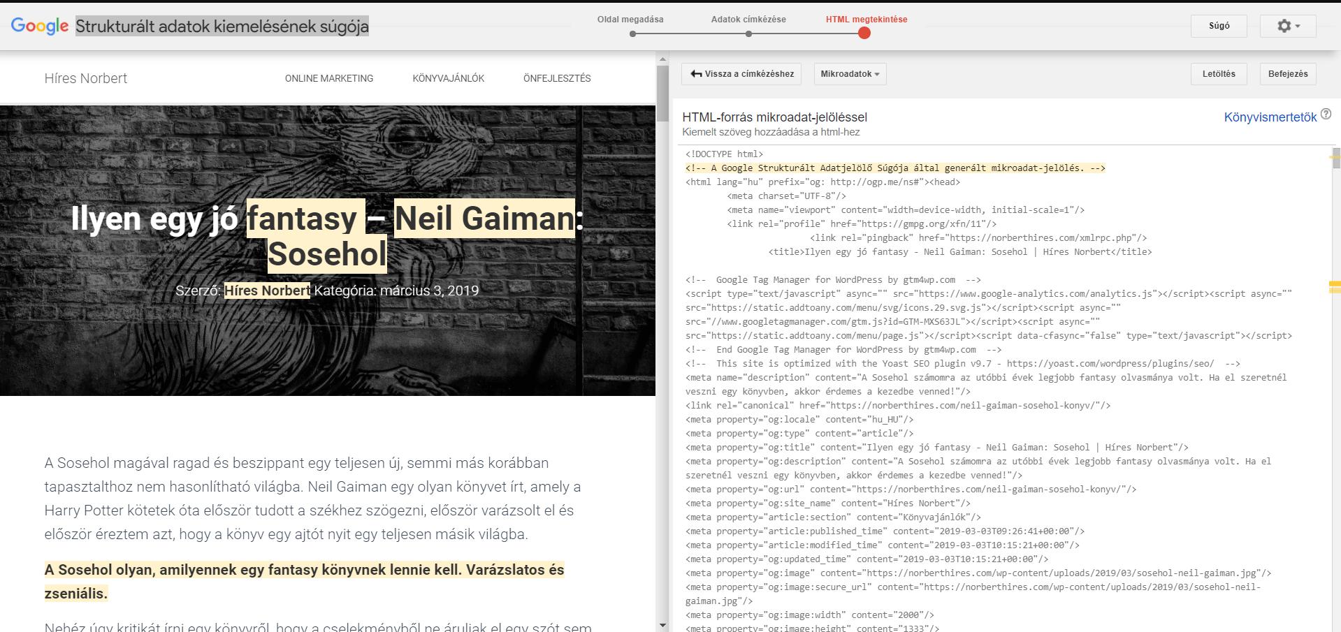 html strukturált adat beillesztése