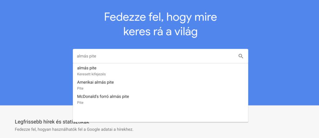 Google Trends keresési eredmény