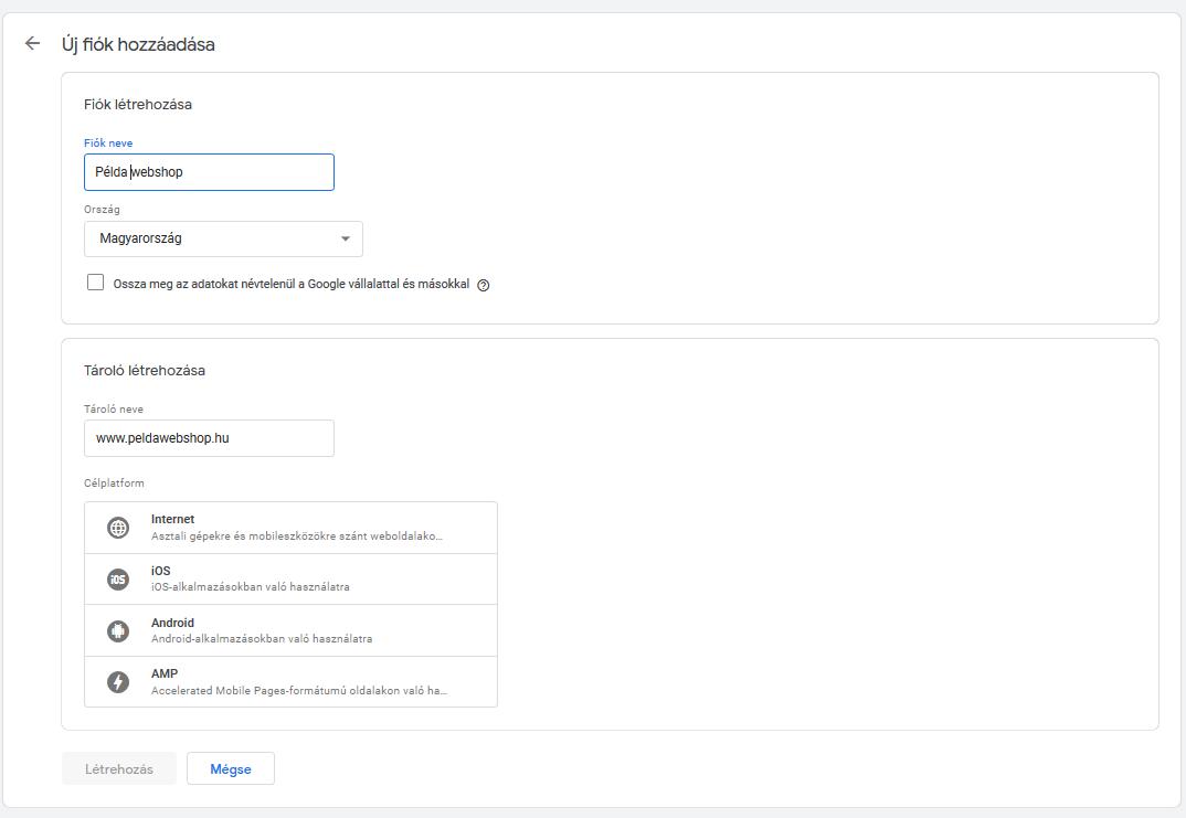 google tag manager új fiók regisztrálása