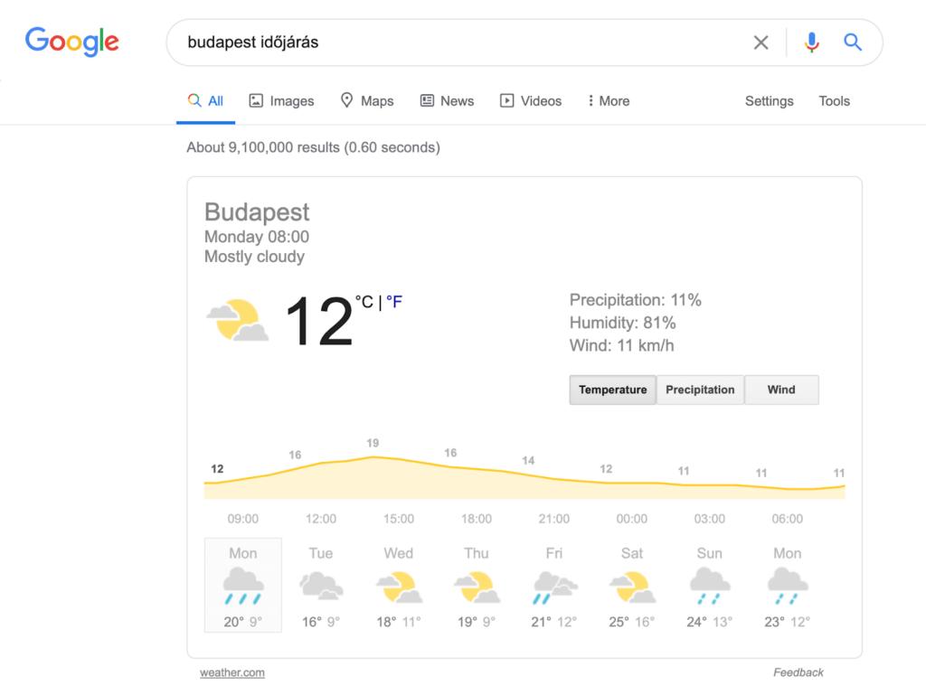 Budapest időjárás Google keresés
