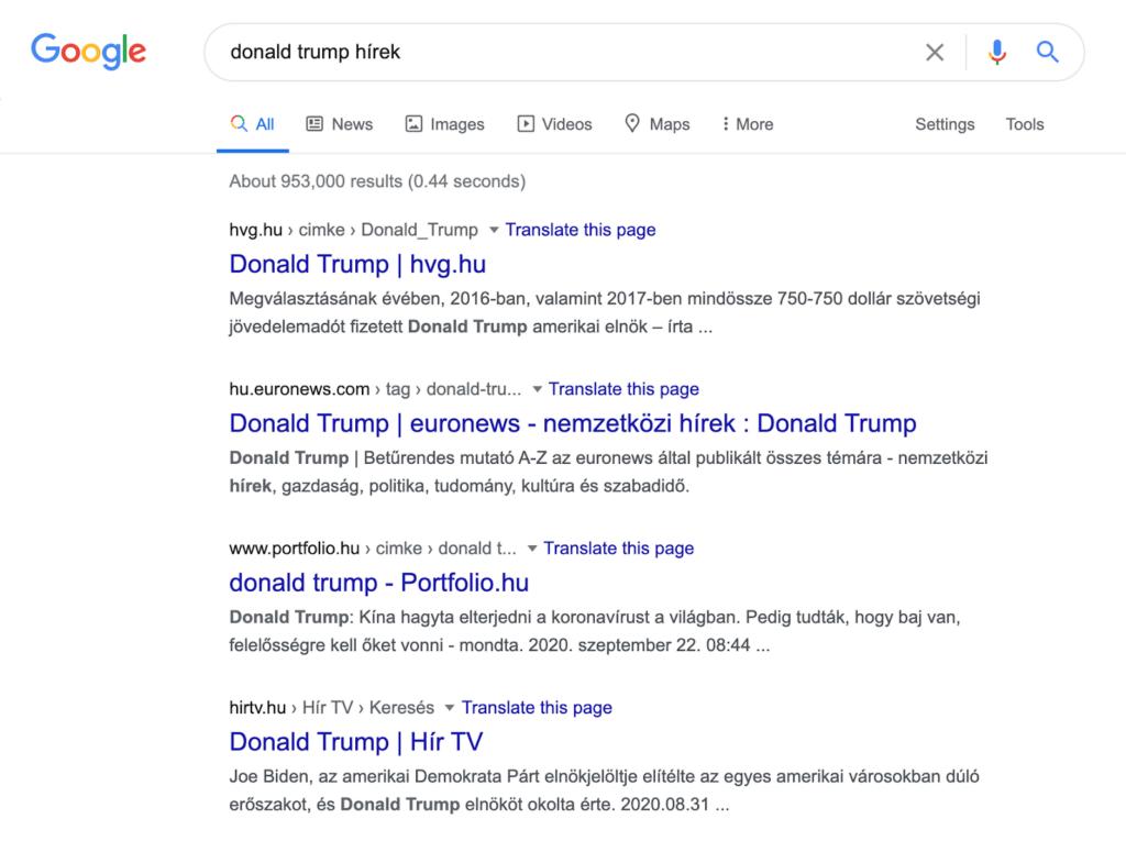 Donal Trump Google keresés
