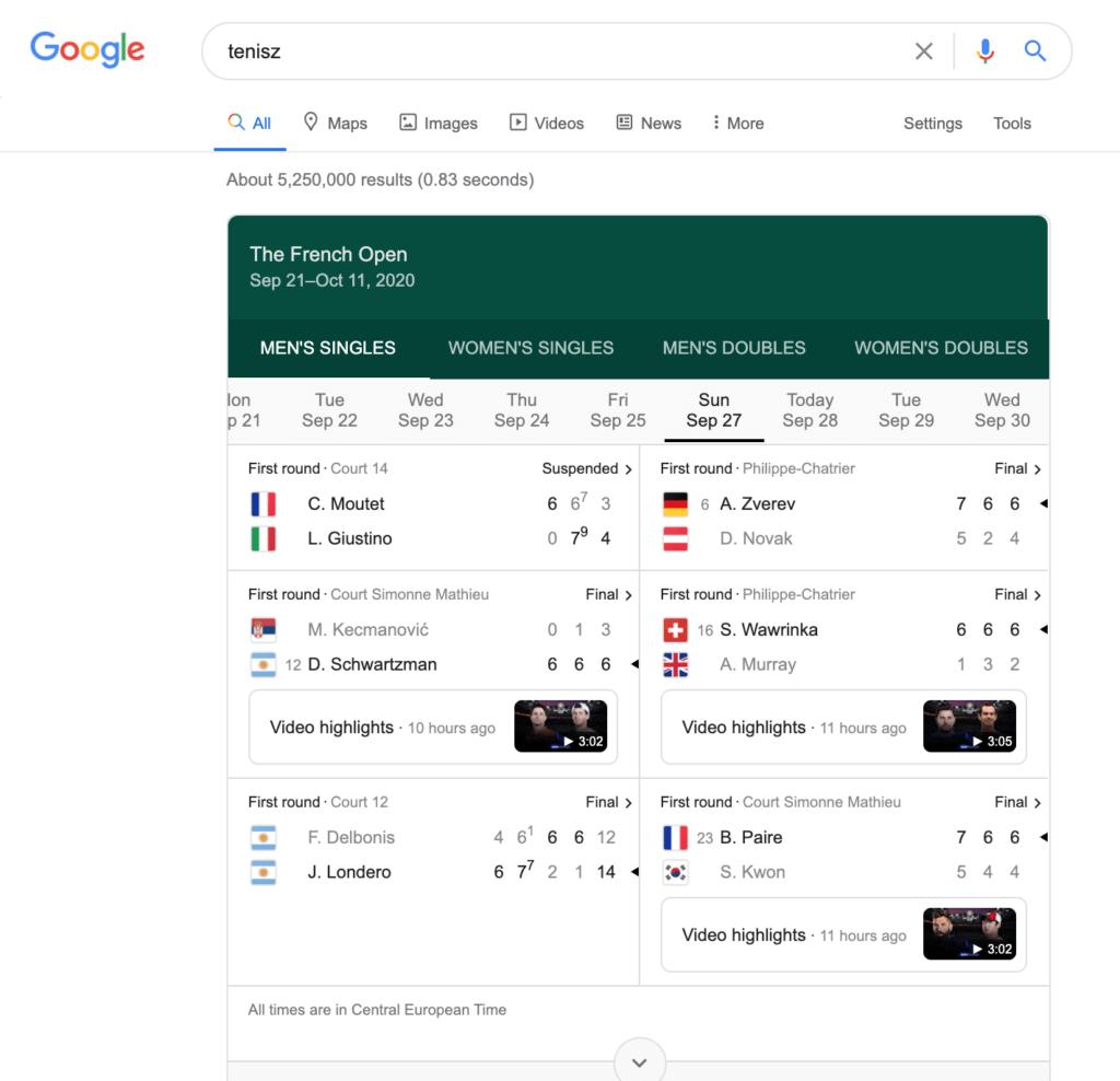 Tenisz Google keresés